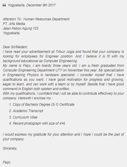 contoh surat penawaran lamaran kerja