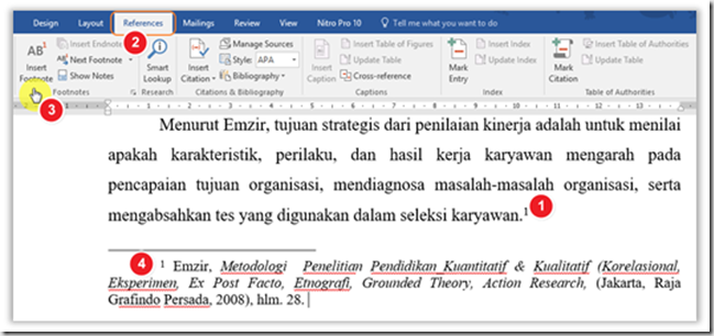 contoh footnote jurnal