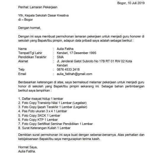 contoh surat lamaran kerja guru